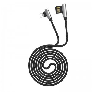 HOCO - 90 Degrees Exquisite Steel Charging / Data Cable for Lightning Connector U42 120cm Black
