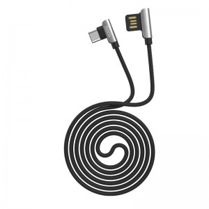 HOCO - 90 Degrees Exquisite Steel Charging / Data Cable for Type-C Connector U42 120cm Black