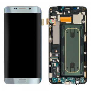 """Samsung Galaxy S6 Edge Plus G928F - Full Front LCD Digitizer With Frame Silver """" Service Pack """""""