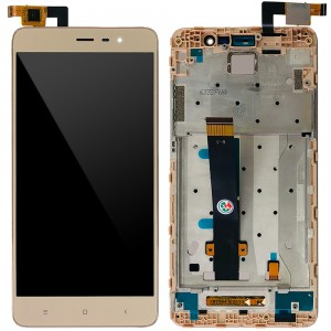 Xiaomi Redmi Note 3 Special Edition - Full Front LCD Digitizer With Frame Gold