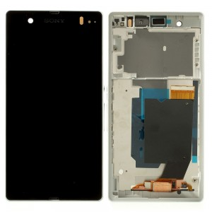 Sony Xperia Z L36H C6603 - Full Front LCD Digitizer OEM With Frame White