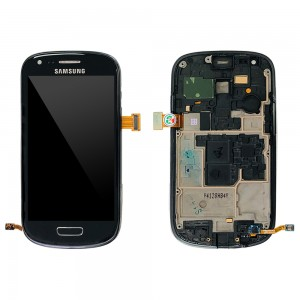 Samsung Galaxy S3 Mini I8190 - Full Front LCD Digitizer with Frame Black < Service Pack >