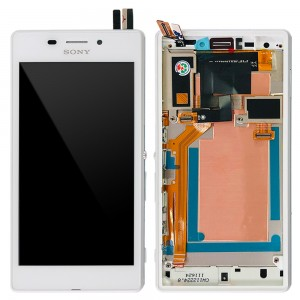 Sony Xperia M2 Aqua D2403 - Full Front LCD Digitizer with Frame White