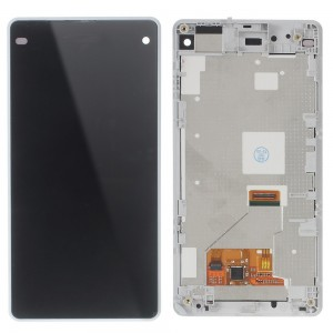 Sony Xperia Z1 Compact D5503 - Full Front LCD Digitizer With LCD Frame White