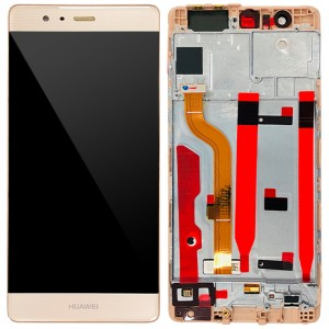 Huawei Ascend P9 - Full Front LCD Digitizer with Frame Gold