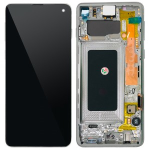 """Samsung Galaxy S10 G973F - Full Front LCD Digitizer With Frame White """" Service Pack """""""