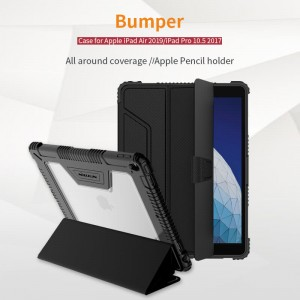 iPad Air (2019) / iPad Pro 10.5 (2017) - Nillkin Defender Bumper Leather Cover Case Black