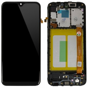 Samsung Galaxy A20e A202F - Full Front LCD Digitizer With Frame Black ' Service Pack '
